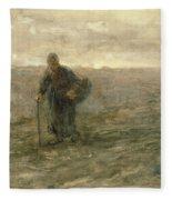 Old Woman On The Heath Fleece Blanket