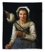 Old Woman Spinning, 1646-48 Fleece Blanket