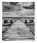 Old Wooden Jetty During Storm On The Sea Fleece Blanket