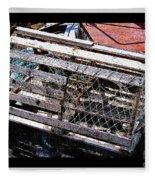Old Wooden Lobster Pot Fleece Blanket