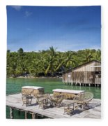 Old Wooden Pier Of Koh Rong Island In Cambodia Fleece Blanket