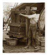 Old  Wooden Wine Press Circa 1910 Fleece Blanket