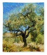 Olive Tree On Van Gogh Manner Fleece Blanket