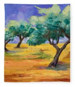 Olive Trees Grove Fleece Blanket