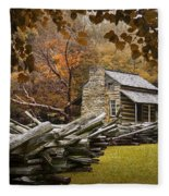 Oliver's Log Cabin During Fall In The Great Smoky Mountains Fleece Blanket
