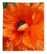 Olympia Orange Poppy Fleece Blanket
