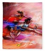 Olympics Heptathlon Hurdles 01 Fleece Blanket