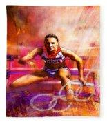 Olympics Heptathlon Hurdles 02 Fleece Blanket