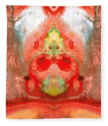Om - Red Meditation - Abstract Art By Sharon Cummings Fleece Blanket