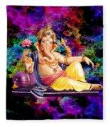 Om Shanti Ganesh Fleece Blanket