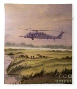 On A Mission - Hh60g Helicopter Fleece Blanket