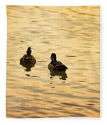 On Golden Pond Ducks Fleece Blanket
