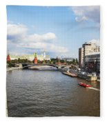 On Moscow River - Russia Fleece Blanket