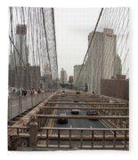 On The Brooklyn Bridge Fleece Blanket