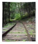 Victorian Locomotive Tracks Fleece Blanket