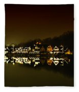 On The River At Night -  Boathouse Row Fleece Blanket