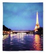 On The River Seine Fleece Blanket