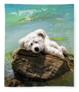 On The Rocks - Teddy Bear Art By William Patrick And Sharon Cummings Fleece Blanket