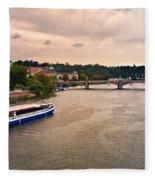 On The Vltava River - Prague Fleece Blanket
