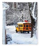 On The Way To School In Winter Fleece Blanket