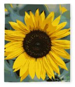 One Bright Sunflower - Digital Art Fleece Blanket