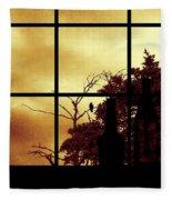 One Crow Outside My Window Fleece Blanket