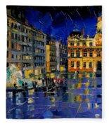 One Evening In Terreaux Square Lyon Fleece Blanket