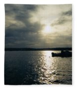 One Lonely Fisherman Fleece Blanket