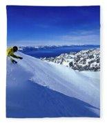 One Man Skiing In Powder High Fleece Blanket