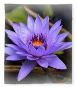 One Purple Water Lily With Vignette Fleece Blanket