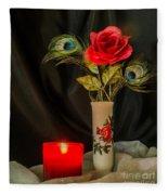 One Red Christmas Rose Fleece Blanket