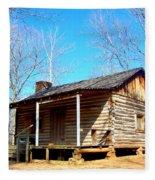 One Room Pioneer Log Cabin  Fleece Blanket