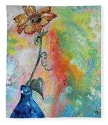 One Solitary Flower Fleece Blanket