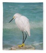 One With Nature - Snowy Egret Fleece Blanket