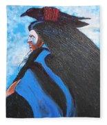 One With Raven Fleece Blanket