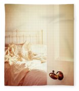 Open Bedroom Door Fleece Blanket