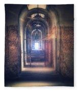 Open Gate To Prison Hallway Fleece Blanket