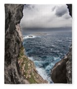 A Natural Window In Minorca North Coast Discover Us An Impressive View Of Sea And Sky - Open Window Fleece Blanket