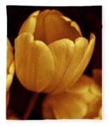 Opening Tulip Flower Golden Monochrome Fleece Blanket