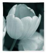 Opening Tulip Flower Teal Monochrome Fleece Blanket
