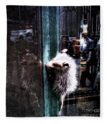 Opossum In The City Fleece Blanket