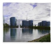 Oracle Buildings In Redwood City Ca Fleece Blanket