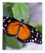 Orange And Black Butterfly Fleece Blanket