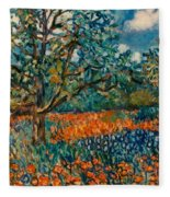 Orange And Blue Flower Field Fleece Blanket