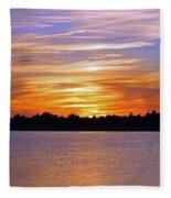 Orange And Blue Sunset Fleece Blanket