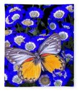 Orange And Gray Butterfly Fleece Blanket