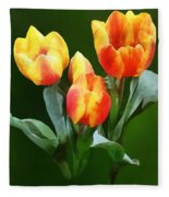 Orange And Yellow Tulips Fleece Blanket