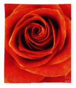 Orange Apricot Rose Macro With Oil Painting Effect Fleece Blanket