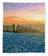 Orange Beach Sunset - The Waning Of The Day Fleece Blanket