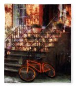Orange Bicycle By Brownstone Fleece Blanket